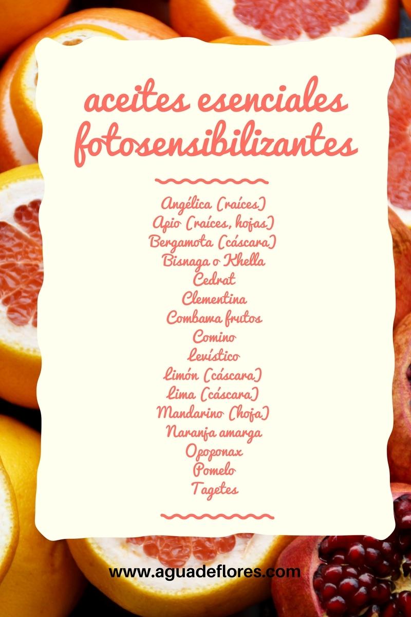 lista de aceites esenciales con efectos fotosensibilizantes