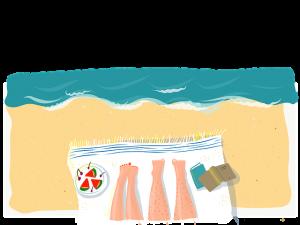 ilustración de las piernas de una pareja tomando el sol en la playa sobre una toalla blanca