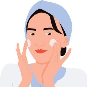 dibujo de mujer poniéndose crema facial hidratante